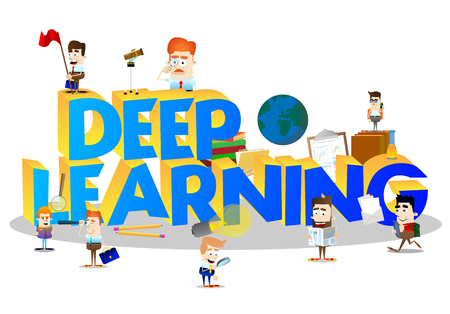 Cartoon little business people and students with word Deep Learning. Miniature scene of businessmen and kids.