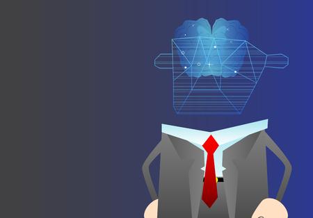 Business Artificial intelligence, modern technologies concepts. Vector cartoon character illustration. Brain representing artificial intelligence.