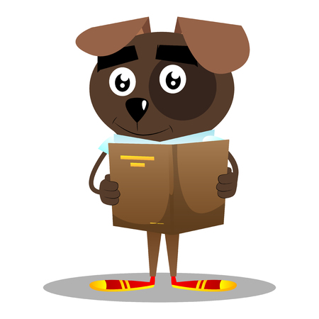 Cartoon illustrated business dog reading a book.