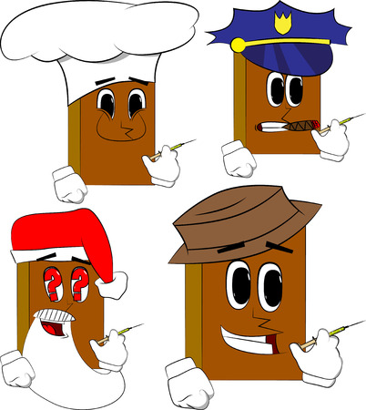 Books with medical injection in hand. Cartoon book collection with costume faces. Expressions vector set. Ilustração