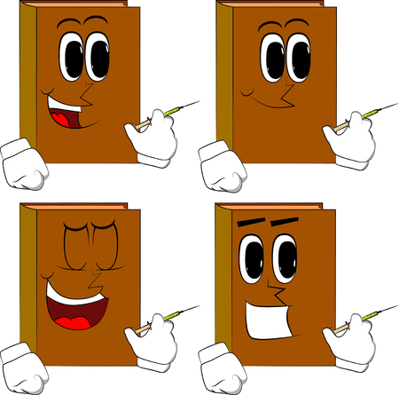 Books with medical injection in hand. Cartoon book collection with happy faces. Expressions vector set.