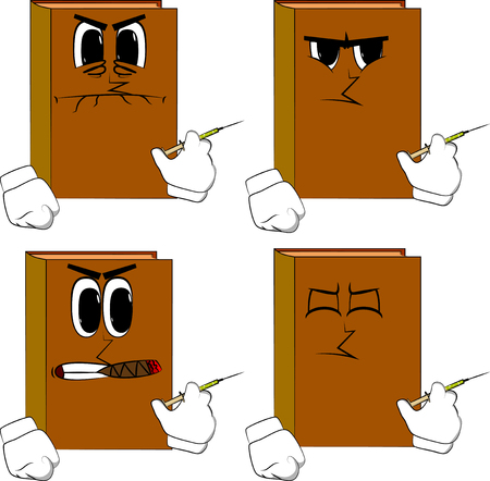 Books with medical injection in hand. Cartoon book collection with angry faces. Expressions vector set.