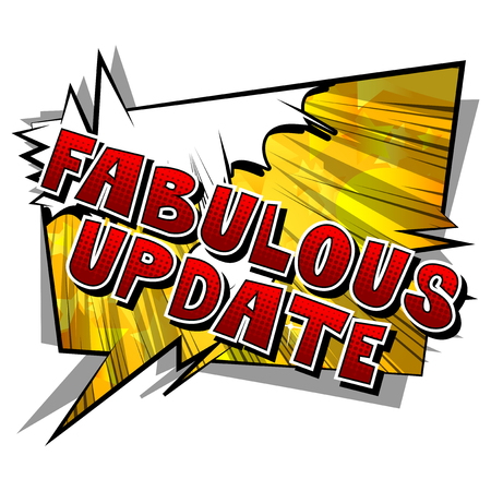 Fabulous Update - Comic book style word on abstract background. Archivio Fotografico - 105260122