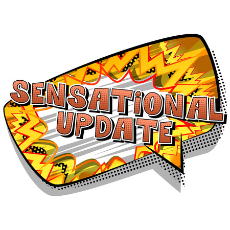 Sensational Update - Comic book style word on abstract background. Ilustração