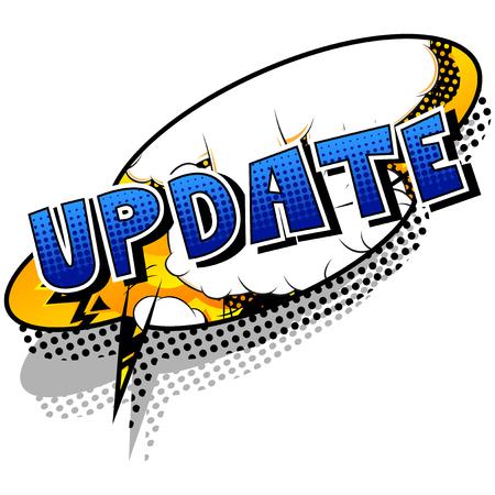 Update - Comic-Stil Wort auf abstraktem Hintergrund. Vektorgrafik