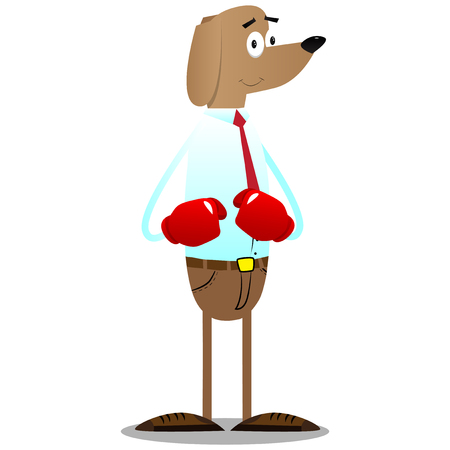 Cartoon illustrated business dog holding his fists in front of him ready to fight wearing boxing gloves.