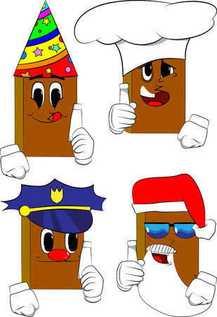 Books holding blank tube of paste. Cartoon book collection with costume faces. Expressions vector set. Illustration