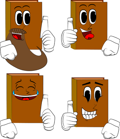 Books holding blank tube of paste. Cartoon book collection with happy faces. Expressions vector set.