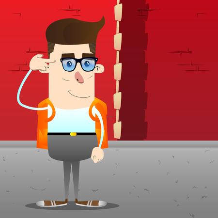 Schoolboy puting an imaginary gun to his head. Vector cartoon character illustration. Stock Vector - 105260136