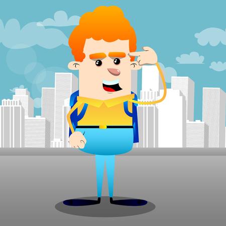 Schoolboy puting an imaginary gun to his head. Vector cartoon character illustration.