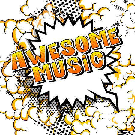 Awesome Music - Comic book style word on abstract background.