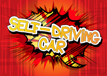 Self-Driving Car - Comic book style word on abstract background.  イラスト・ベクター素材