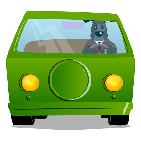 Cartoon illustrated business dog driving, holding a steering wheel.