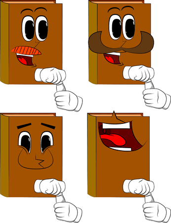 Books opening a blank tube of paste. Cartoon book collection with happy faces. Expressions vector set.