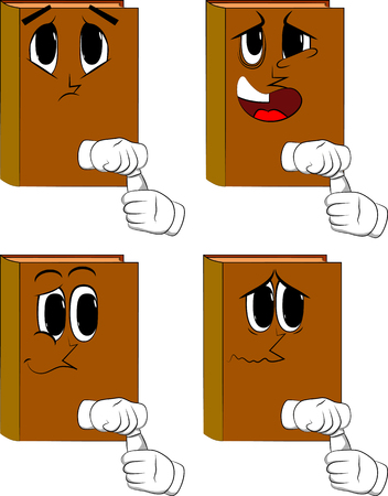 Books opening a blank tube of paste. Cartoon book collection with sad faces. Expressions vector set. Illustration