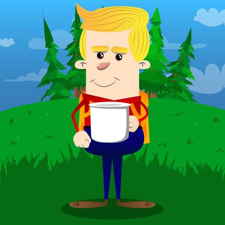 Schoolboy holding big mug. Vector cartoon character illustration.