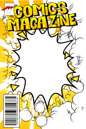 Editable comic book cover with abstract background. Banco de Imagens - 104970218