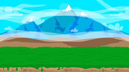 Cartoon seamless nature landscape background illustration, endless field for games and animations.