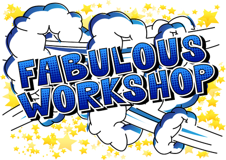 Fabulous Workshop - Comic book style word on abstract background. Çizim