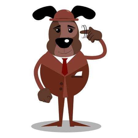 Cartoon illustrated business dog shows a you're nuts gesture by twisting his finger around his temple.