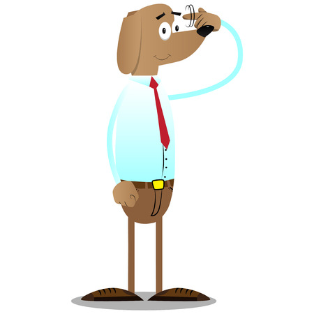 Cartoon illustrated business dog shows a youre nuts gesture by twisting his finger around his temple.