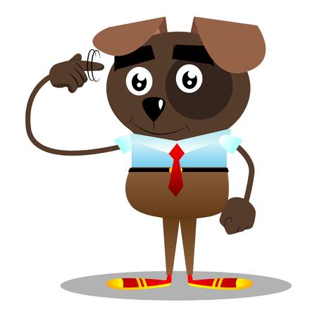 El perro de negocios ilustrado de dibujos animados muestra un gesto de estás loco girando su dedo alrededor de su sien.