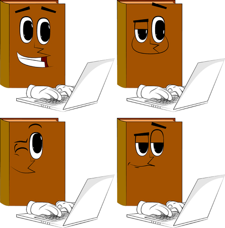 Books working with laptop. Cartoon book collection with happy faces. Expressions vector set.