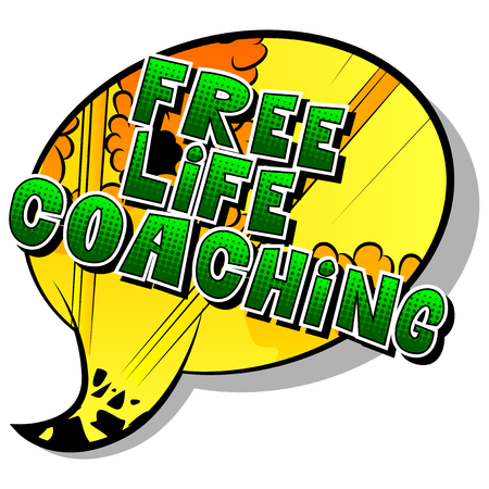 Free Life Coaching - Comic book style word on abstract background. Illustration