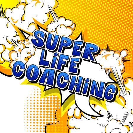entrenamiento de la vida estupendo - cómica estilo de la palabra del libro en el fondo abstracto .