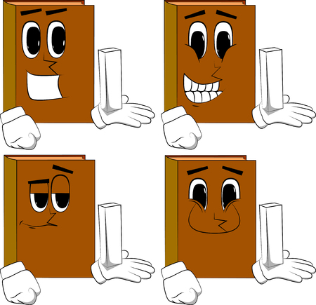 Books holding white tall box. Cartoon book collection with happy faces. Expressions vector set.