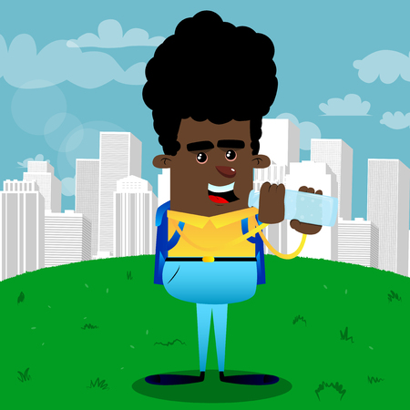 Schoolboy drinking water from a glass bottle. Vector cartoon character illustration.