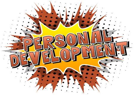Personal Development - Comic book style word on abstract background. Illustration