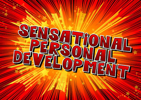 Sensational Personal Development - Comic book style word on abstract background.