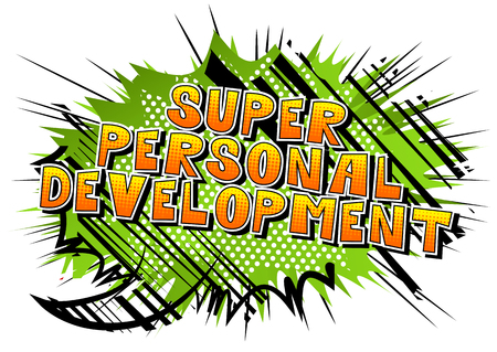 Super Personal Development - Comic book style word on abstract background.