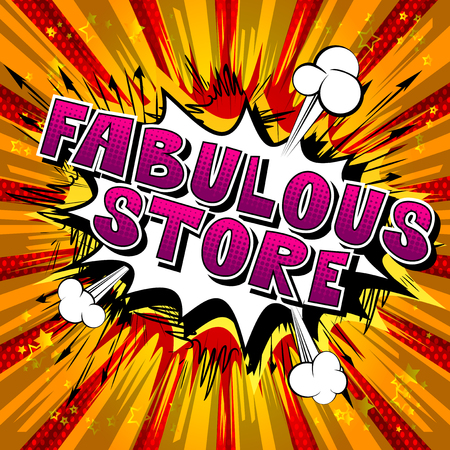 Fabulous Store - Comic book style word on abstract background. Ilustração