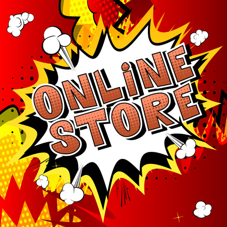 Online Store - Comic book style word on abstract background.