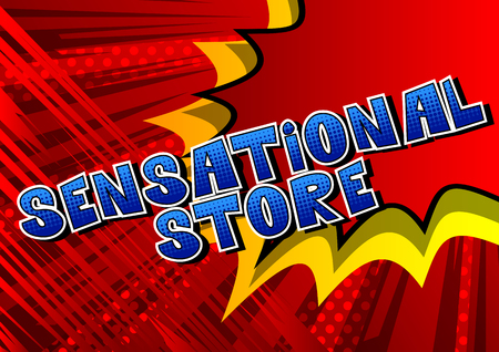 Sensational Store - Comic book style word on abstract background. Ilustração