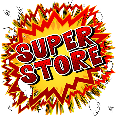 Super Store - Comic book style word on abstract background. Banque d'images - 105164105