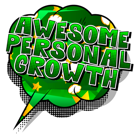 Awesome Personal Growth - Comic book style word on abstract background. Stock Illustratie