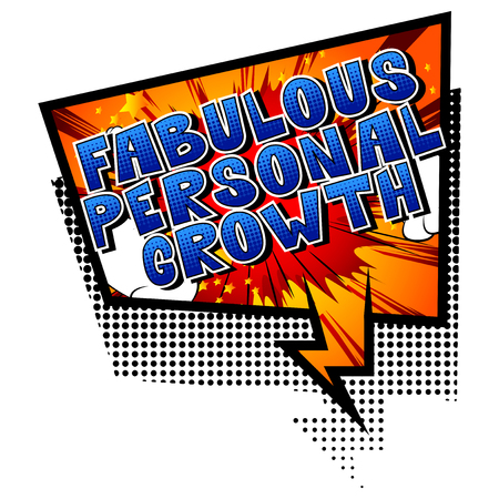 Fabulous Personal Growth - Comic book style word on abstract background. Ilustração
