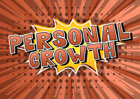 Personal Growth - Comic book style word on abstract background. Ilustração