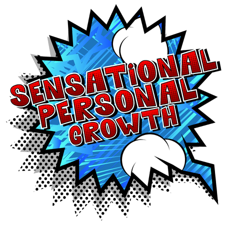 Sensational Personal Growth - Comic book style word on abstract background.