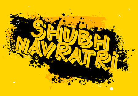 Happy Navratri. Vector Illustration for the Hindu festival with dirty, grungy background.