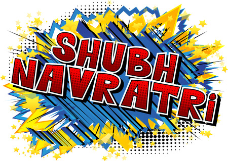 Happy Navratri. Vector Illustration for the Hindu festival. Comic book style word on abstract background.