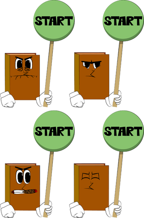 Books holding start sign. Cartoon book collection with angry faces. Expressions vector set.