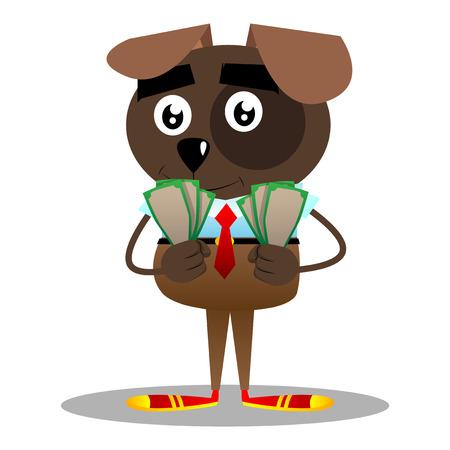 Cartoon illustrated business dog holding or showing money bills.