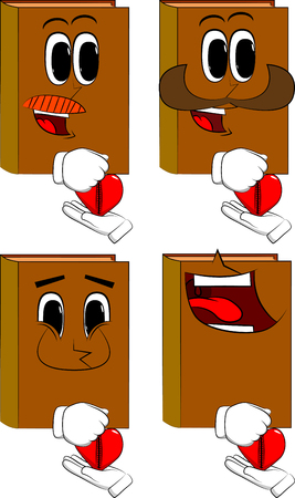 Books zipping his heart. Cartoon book collection with happy faces. Expressions vector set.