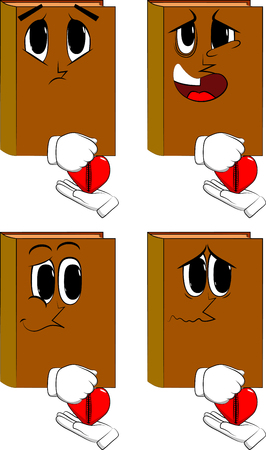 Books zipping his heart. Cartoon book collection with angry and sad faces. Expressions vector set.Books zipping his heart. Cartoon book collection with angry and sad faces. Expressions vector set.