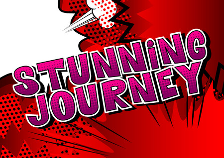 Stunning Journey - Comic book style word on abstract background. Иллюстрация
