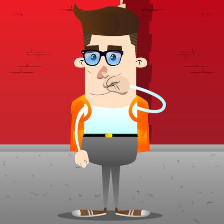Scolaro con simpatia. Illustrazione del personaggio dei cartoni animati di vettore. Vettoriali